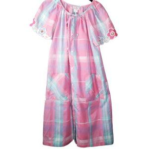 Vintage 60's 70's Nightgown House Dress Pink Plaid